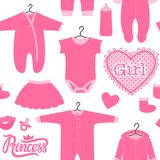 Clothes of a newborn girl. Seamless pattern - Concept design for children. Vector illustration isolated on white background Royalty Free Stock Photography