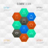 Clothes Outline Icons Set.. Collection Of Cardigan, Underpants, Pompom And Other Elements Royalty Free Stock Image