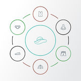 Clothes Outline Icons Set. Collection Of Panama, Cardigan, Underpants And Other Elements. Also Includes Symbols Such As Stock Photos