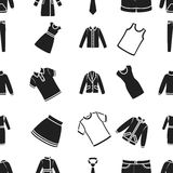 Clothes pattern icons in black style. Big collection of clothes vector symbol stock illustration Royalty Free Stock Image
