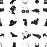 Clothes pattern icons in black style. Big collection of clothes vector symbol stock illustration Royalty Free Stock Images