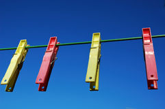 Clothes peg. With blue sky stock photography