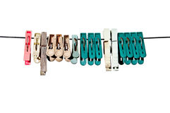 Clothes-peg. For linen with rope on white background Royalty Free Stock Image