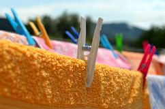 Clothes peg detail. Close look on clothes peg stock photography