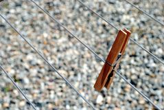 Clothes peg standing on the line Stock Photography