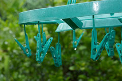 Clothes peg in thai. Wet clothes in thai Stock Photo