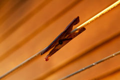 Clothes peg on washing line. Clothes peg on the washing line with water droplet Stock Photos