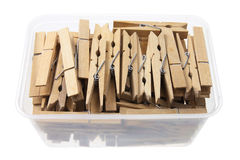 Clothes Pegs in Box Stock Image