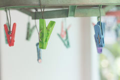 Clothes pegs or clothespins hang on a cord. Plastic clothes pegs. On a washing line.selective focus Stock Photo