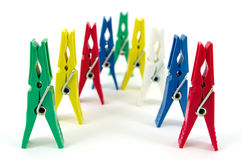 Clothes pegs. In a different color on a white background Stock Photography