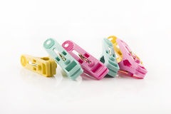 Clothes pegs. On White Background Royalty Free Stock Photos