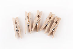 Clothes pegs. On White Background Stock Photography