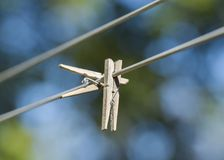 Clothes Pegs. Wooden clothes pegs are shonw on a clothes line Royalty Free Stock Photo