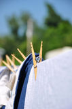 Clothes pin on clothes line Royalty Free Stock Photography