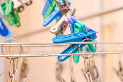Clothes pin. Row of Plastic Clothes pin clip Stock Image