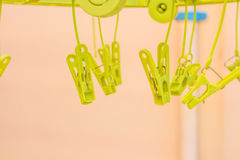 Clothes pin. Row of Plastic Clothes pin clip Stock Photography