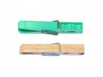 Clothes pins. Closeup of plastic and wood clothes pins Royalty Free Stock Image