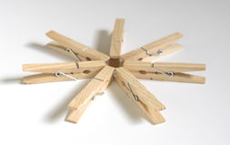 Clothes Pins. 6 clothes pins in circle Royalty Free Stock Image