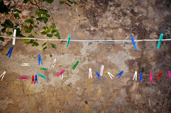 Clothes pins, clothes pegs, tweezers Stock Photos