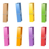 Clothes Pins Collection Colors Stock Images
