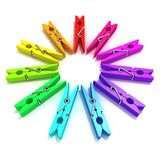 Clothes pins color wheel Royalty Free Stock Photography
