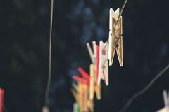 Clothes pins on line Royalty Free Stock Photography