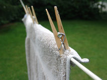 Clothes Pins On Line Stock Photo