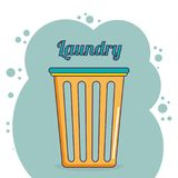 Clothes plastic basket laundry service. Vector illustration design stock illustration