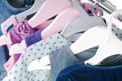 Clothes on rack Stock Photography