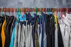 Clothes hangers hung by clothes Stock Photos