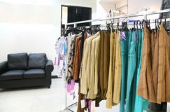 Clothes on rack in store Royalty Free Stock Image