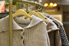 Clothes on racks in fashion store,clothing store,clothes store,fashion shop Royalty Free Stock Photos