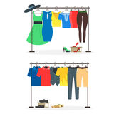 Clothes Racks with Wear on Hangers Set. Vector Stock Image