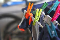 Clothes ready to dry in the sun.  royalty free stock photos