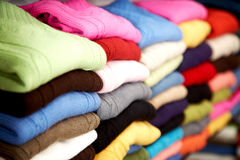 Clothes at retail store Stock Images