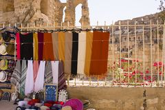 Clothes for sale in El-Jem Royalty Free Stock Photography