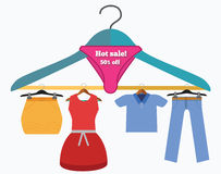 Clothes sale off conceptual illustration. Stock Photo