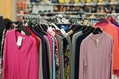 Clothes sale in a store Royalty Free Stock Photo