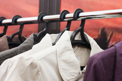 Clothes sale in a supermarket Stock Image