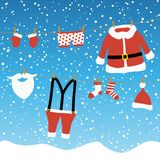 Clothes from Santa Claus. Hanging on a clothes line and blue colored snow fall background vector illustration