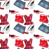 Clothes seamless pattern Stock Photos