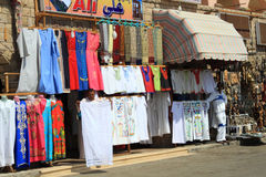 Clothes seller in Egypt Stock Images