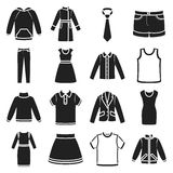 Clothes set icons in black style. Big collection clothes vector symbol stock illustration Royalty Free Stock Images
