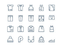Clothes. Set of thin outline vector icons. Clothes. Set of thin outline vector icons on a white background Stock Image