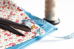 Clothes and sewing tools Royalty Free Stock Photography