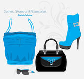 Clothes, shoes and accessories. Stylish collection Stock Photos