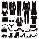 Clothes and shoes Fashion icon set. Royalty Free Stock Photos