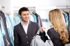 In clothes shop Stock Image