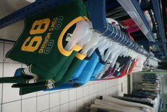Clothes in the shop. Many clothes in a supermarket Royalty Free Stock Image
