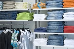 Clothes in the shop. Clothes in the fashion shop Royalty Free Stock Photos